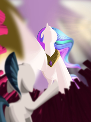 Size: 1152x1536 | Tagged: safe, artist:styroponyworks, princess celestia, alicorn, earth pony, pony, carpet, female, hoof shoes, looking up, male, mare, micro, peytral, request, royal guard, shrunk, stallion, unaware, underhoof