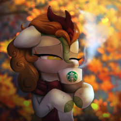 Size: 2000x2000 | Tagged: safe, artist:ravensunart, derpibooru exclusive, autumn blaze, kirin, sounds of silence, spoiler:s08, autumn, awwtumn blaze, blushing, bust, clothes, cloven hooves, coffee, cup, cute, drinking, female, floppy ears, hoof hold, horn, leaves, mare, one eye closed, quadrupedal, scarf, solo, starbucks, steam, xk-class end-of-the-world scenario