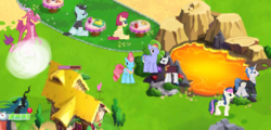 Size: 769x368   Tagged: safe, bon bon, chancellor neighsay, cup cake, fancypants, posey shy, queen chrysalis, rainbow blaze, sweetie drops, dragon, gameloft, gameloft shenanigans, lava, tour guide, what could possibly go wrong