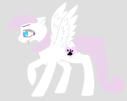 Size: 1258x1008 | Tagged: artist:what's a username, base used, cutie mark, derpibooru exclusive, determined, fangs, female, gradient background, gray background, hooves, lineless, mare, minimalist, modern art, ms paint, oc, oc:kitten paws, oc only, pegasus, pegasus wings, pony, raised hoof, safe, simple background, solo, spread wings, standing, wings