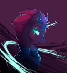 Size: 4557x5000 | Tagged: absurd res, artist:hakkids2, broken horn, bust, eye scar, female, glowing eyes, glowing horn, magic, mare, mohawk, my little pony: the movie, pony, purple background, safe, scar, signature, simple background, solo, sparking horn, tempest shadow, unicorn