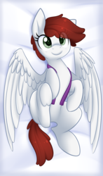 Size: 2508x4272 | Tagged: artist:scarlet-spectrum, bed, clothes, cute, female, freckles, looking at you, mare, oc, oc:graph travel, oc only, pegasus, pony, safe, solo, spread wings, this will end in hugs, underhoof, vest