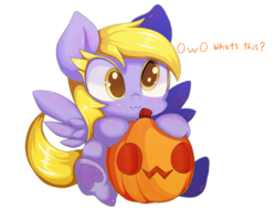 Size: 2000x1500 | Tagged: safe, artist:zokkili, derpy hooves, pegasus, pony, colored eyelashes, cute, derpabetes, female, halloween, holiday, jack-o-lantern, mare, owo, owo what's this?, pumpkin, simple background, solo