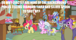 Size: 1050x553 | Tagged: safe, edit, edited screencap, screencap, amethyst star, apple bloom, diamond mint, diamond tiara, liza doolots, orange blossom, petunia, prim posy, silver spoon, sparkler, tootsie flute, tornado bolt, earth pony, pegasus, pony, unicorn, call of the cutie, animation error, background pony, bully, bullying, clothes, cuteceañera, discussion in the comments, female, filly, flower, flower in hair, image macro, impact font, laughing, mare, meme, missing horn, op has a point, phonograph, plot hole, saddle, skirt, sugarcube corner, tack