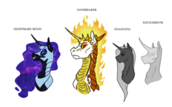 Size: 843x523 | Tagged: safe, artist:phobicalbino, daybreaker, nightmare moon, princess cadance, twilight sparkle, oc, oc:equilibrium, oc:stagnatia, dragon, armor, bust, dragonified, ethereal mane, mane of fire, nightmare cadance, nightmare night, nightmare twilight, nightmarified, portrait, simple background, species swap, starry mane, white background