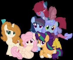 Size: 843x687 | Tagged: safe, artist:moonlightdisney5, oc, oc only, earth pony, hybrid, pegasus, pony, unicorn, base used, freckles, interspecies offspring, magical lesbian spawn, mane six, next generation, nextgen:streakverse, offspring, parent:applejack, parent:discord, parent:fluttershy, parent:pinkie pie, parent:rainbow dash, parent:rarity, parent:starlight glimmer, parent:sunburst, parent:trixie, parent:twilight sparkle, parents:flutterpie, parents:phardancer, parents:rarijack, parents:starburst, parents:trixcord, parents:twidash, simple background, transparent background