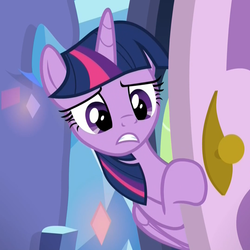 Size: 1078x1078 | Tagged: alicorn, bipedal, bipedal leaning, cropped, door, doorknob, father knows beast, female, frown, leaning, mare, pony, reaction image, sad, safe, screencap, solo, spike's room, twilight sparkle, twilight sparkle (alicorn), worried