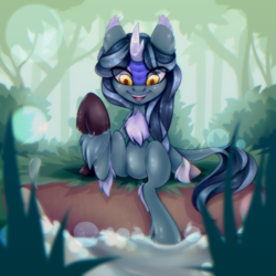 Size: 3000x3000 | Tagged: safe, artist:igazella, oc, oc only, oc:kasumi, kirin, cloven hooves, female, happy, kicking, mare, river, smiling, solo, tree, water, ych result