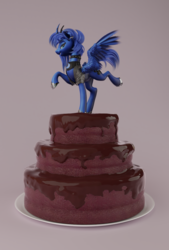 Size: 807x1192 | Tagged: safe, artist:v747, princess luna, alicorn, pony, 3d, cake, choker, clothes, collar, curved horn, ear piercing, earring, food, freckles, jacket, jewelry, lidded eyes, piercing, smiling, solo, spiked collar