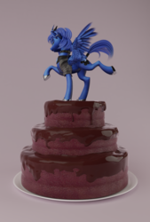 Size: 807x1192 | Tagged: safe, artist:v747, princess luna, alicorn, pony, 3d, cake, choker, clothes, collar, curved horn, ear piercing, earring, food, freckles, jacket, jewelry, lidded eyes, piercing, smiling, solo, spiked collar, tail wrap
