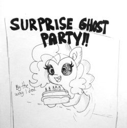 Size: 1280x1283 | Tagged: artist:tjpones, black sclera, cake, dialogue, ear fluff, earth pony, female, food, ghost, ghost pony, hoof hold, inktober, inktober 2018, mare, pinkie pie, pony, safe, solo, surprise party, through wall