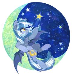 Size: 1850x1900   Tagged: safe, artist:lispp, oc, oc:midnight rush, bat pony, pony, badge, bat pony oc, female, mare, simple background, smiling, solo, stars, transparent background, ych result