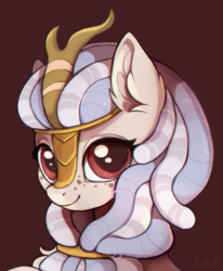 Size: 1815x2203 | Tagged: safe, artist:ritter, kirin, sounds of silence, bust, cute, dreadlocks, ear fluff, female, freckles, horn, looking at you, mare, portrait, simple background, smiling, solo