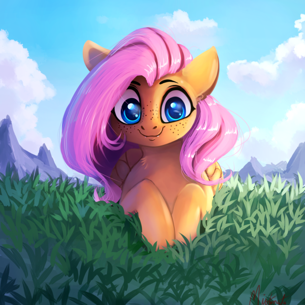 Size: 3200x3200 | Tagged: artist:miokomata, cute, cute little fangs, fangs, featured image, female, fluttershy, folded wings, freckles, freckleshy, grass, looking at you, mare, pegasus, pony, prone, safe, shyabetes, smiling, solo, wings, wrong eye color