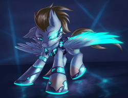 Size: 1950x1500   Tagged: safe, artist:shad0w-galaxy, oc, oc only, oc:scarx-x, pegasus, pony, angry, blue background, blue light, cyberpunk, glow, glowing eyes, male, simple background, stallion, technology