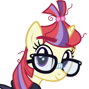 Size: 221x221 | Tagged: safe, artist:lightningbolt, derpibooru exclusive, moondancer, pony, unicorn, derpibooru, .svg available, clothes, derpibooru badge, female, glasses, horn, looking at you, mare, messy mane, meta, simple background, smiling, svg, sweater, transparent background, vector