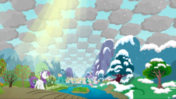 Size: 1440x810 | Tagged: apple tree, checkered clouds, cloud, cloudy, crepuscular rays, female, looking up, magical mystery cure, mare, pony, ponyville, rarity, safe, screencap, sky, solo, tree, unicorn, what my cutie mark is telling me