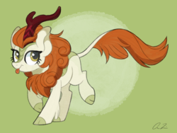 Size: 1600x1200 | Tagged: safe, artist:iheartjapan789, autumn blaze, kirin, sounds of silence, :p, awwtumn blaze, cloven hooves, cute, female, gradient background, green background, prancing, signature, silly, simple background, solo, tongue out