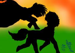 Size: 4603x3264 | Tagged: safe, artist:duskhoof, oc, oc:blazing moon, oc:storm cloud, fallout equestria:scoundrels, silhouette