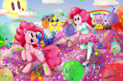 Size: 1280x849   Tagged: safe, artist:jeglegator, pinkie pie, earth pony, pony, equestria girls, balloon, blue eyes, cloud, confetti, cutie mark, cutie mark on clothes, female, happy, human ponidox, mare, pink hair, pink mane, pinkie's mindspace, ponk, rainbow, running, self ponidox, signature, stars, streamers, sun, this will end in fun