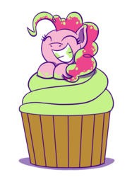 Size: 1280x1707 | Tagged: safe, artist:flutterluv, pinkie pie, earth pony, pony, cupcake, eyes closed, female, food, mare, pinkie pie appreciation day, simple background, smiling, solo, transparent background
