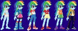 Size: 1600x651 | Tagged: artist:nico495, boots, boyshorts, bra, clothes, compression shorts, converse, crop top bra, equestria girls, gray underwear, panties, pants, rainbow dash, safe, shoes, shorts, skirt, sneakers, socks, solo, underwear