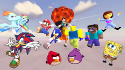 Size: 1024x576 | Tagged: 3d, angry birds, artist:alexandergantt, cloud, cloudy, crossover, equestria girls, explosion, fidget spinner, frisk, furry, furry oc, genderless child, if undertale was realistic, mario, minecraft, oc, oc:joe the purple angry bird, oc:zock the vampire hedgehog, overwatch, rainbow dash, recolor, roblox, safe, sky, sonic the hedgehog, sonic the hedgehog (series), spongebob squarepants, steve, super mario bros., tracer, undertale