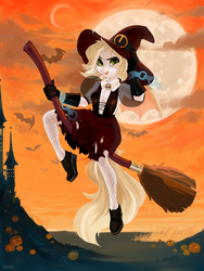 Size: 1620x2160 | Tagged: safe, artist:zlatavector, oc, oc only, bat, anthro, anthro oc, broom, digital art, female, flying, flying broomstick, full moon, halloween, hat, moon, pumpkin, solo, witch, witch hat