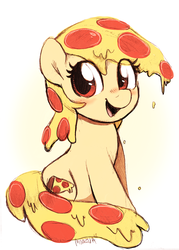 Size: 1405x1958 | Tagged: safe, artist:moozua, oc, oc:mozzarella orgy, food pony, original species, pizza pony, pony, blushing, cute, dripping, female, food, looking at you, mare, ocbetes, open mouth, pizza, simple background, sitting, smiling, white background
