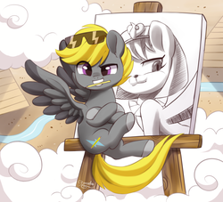 Size: 2200x2000 | Tagged: artist:dressella, cat, cloud, cloudy, desert, drawing, flying, lake, male, oc, oc:pencil bolt, original character do not steal, paper, pegasus, pencil, pony, pyramid, safe, sphinx, sunglasses