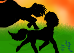Size: 4603x3264 | Tagged: safe, artist:duskhoof, oc, oc:blazing moon, oc:storm cloud, fallout equestria, fallout equestria:scoundrels, silhouette, sunset