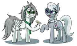 Size: 1280x763 | Tagged: safe, artist:alittleofsomething, silver spoon, oc, oc:umbra winterdance, earth pony, pegasus, pony, blushing, canon x oc, flower, simple background, transparent background