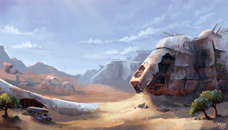 Size: 2000x1144 | Tagged: safe, artist:nemo2d, fallout equestria, fallout equestria: red 36, airship, background, cloud, cloudship, desert, enclave, enclave raptor, environment art, fanfic art, grand pegasus enclave, new appleloosa, no pony, post-apocalyptic, raptor battleship, scenery, sky, tree, wreckage