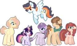 Size: 2196x1315 | Tagged: artist:moon-rose-rosie, dracony, earth pony, female, hybrid, interspecies offspring, magical lesbian spawn, male, mare, oc, oc:celestial moon, oc:chocolate sprinkles, oc:crystal flame, oc:golden apple, oc:magnolia, oc only, oc:shining ray, offspring, parent:applejack, parent:bulk biceps, parent:caramel, parent:cheese sandwich, parent:fluttershy, parent:pinkie pie, parent:rainbow dash, parent:rarity, parents:carajack, parents:cheesepie, parents:flutterbulk, parent:soarin', parent:spike, parent:spitfire, parents:soarinfire, parents:sparity, parents:twidash, parent:twilight sparkle, pegasus, pony, safe, simple background, size difference, stallion, transparent background, unicorn