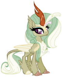 Size: 957x1191 | Tagged: artist:ipandacakes, cloven hooves, crack ship offspring, female, hippogriff, hybrid, interspecies offspring, kirin, kirin hybrid, looking at you, magical lesbian spawn, oc, oc:celosia breeze, oc only, offspring, parent:autumn blaze, parent:princess skystar, safe, simple background, solo, transparent background