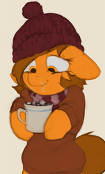 Size: 803x1328 | Tagged: safe, artist:marsminer, oc, oc only, oc:venus spring, pony, chocolate, clothes, cozy, cute, female, floppy ears, food, happy, hot chocolate, mare, ocbetes, solo, venus spring actually having a pretty good time