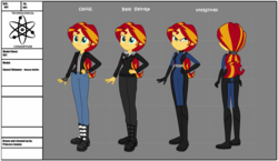 Size: 3244x1881 | Tagged: alternate hairstyle, artist:invisibleink, bodysuit, equestria girls, fanfic, fanfic art, human sunset, long hair, ponytail, reference sheet, safe, smiling, smirk, sunset shimmer