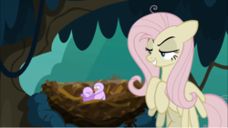 Size: 1248x702 | Tagged: safe, screencap, mean fluttershy, bird, pegasus, pony, the mean 6, bird nest, clone, everfree forest, female, flying, grin, lidded eyes, mare, mocking, nest, smiling