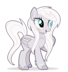 Size: 3473x3697 | Tagged: artist:6-fingers-lover, blind eye, female, mare, oc, oc:white diamond, parent:derpy hooves, parent:rarity, parents:derpity, pegasus, pony, safe, simple background, solo, transparent background
