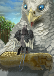 Size: 764x1080 | Tagged: artist:rhaenjarr, classical hippogriff, digital art, duo, falconry, food, griffon, hippogriff, male, meat, micro, oc, oc:aether, oc:der, oc only, safe, spread wings, tree, wings