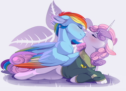 Size: 2248x1621 | Tagged: safe, artist:evehly, rainbow dash, sweetie belle, pegasus, pony, unicorn, alternate hairstyle, bomber jacket, clothes, commission, ear piercing, earring, eyes closed, female, jacket, jewelry, lesbian, mare, nose kiss, older, older sweetie belle, piercing, shipping, smiling, snuggling, sweetiedash