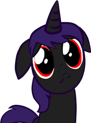 Size: 900x1217 | Tagged: floppy ears, oc, oc only, oc:paradise-black, pony, puppy face, safe, simple background, solo, white background