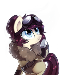 Size: 2733x3310 | Tagged: artist:pepooni, belt, blue eyes, buck legacy, clothes, coat, female, goggles, jacket, mare, oc, pony, purple hair, safe, simple background, snow, snow goggles, solo, transparent background