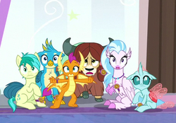 Size: 465x324 | Tagged: safe, screencap, gallus, ocellus, sandbar, silverstream, smolder, yona, changedling, changeling, classical hippogriff, dragon, earth pony, griffon, hippogriff, pony, yak, a matter of principals, bow, claws, cloven hooves, colored hooves, cutie mark, dragoness, female, hair bow, jewelry, male, monkey swings, necklace, shocked, student six, tail, teenager, wings