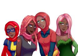 Size: 1800x1304 | Tagged: safe, artist:emberfan11, fluttershy, tree hugger, oc, oc:shy meadows, oc:summer song (ice1517), human, icey-verse, alternative cutie mark placement, armpits, batman, bedroom eyes, belt, breasts, cleavage, clothes, commission, cosplay, costume, crossover, cute, cutie mark tattoo, dark skin, dawn (pokémon), dc comics, dress, ear piercing, earring, evening gloves, family, female, flutterhugger, gloves, hairpin, halloween, hijab, holiday, humanized, humanized oc, islam, islamashy, jewelry, kamala khan, lesbian, lipstick, long gloves, magical lesbian spawn, marvel, mask, may (pokémon), mother and daughter, ms marvel, next generation, nightmare night, nintendo, offspring, parent:fluttershy, parent:tree hugger, parents:flutterhugger, piercing, poison ivy, pokémon, pokémon (anime), pokémon diamond and pearl, pokémon ruby and sapphire, pokémon trainer, religion, scarf, shipping, shirt, shy, simple background, sisters, tanktop, tattoo, trainer dawn, trainer may, transparent background, wall of tags