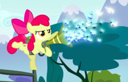 Size: 637x409 | Tagged: safe, screencap, apple bloom, earth pony, insect, pony, twittermite, bloom and gloom, balancing, bow, cropped, female, filly, foal, hair bow, on one hoof, pest control gear, pest pony, solo, swarm, twitbuster apple bloom