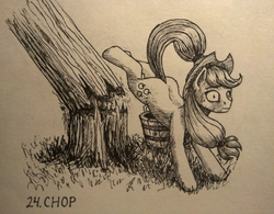 Size: 1200x936 | Tagged: safe, artist:sa1ntmax, applejack, pony, accident, applebucking, basket, broken, cowboy hat, female, freckles, hat, inktober, monochrome, oops, silly, silly pony, sketch, solo, stetson, strong, traditional art, tree, who's a silly pony