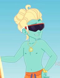 Size: 496x644 | Tagged: safe, screencap, zephyr breeze, blue crushed, equestria girls, equestria girls series, arms, bare arms, bare chest, clothes, cropped, jewelry, male, necklace, partial nudity, solo, sunglasses, topless, zephyr's necklace