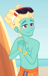 Size: 449x717 | Tagged: safe, screencap, gladys, zephyr breeze, blue crushed, equestria girls, equestria girls series, arms, bare arms, bare chest, clothes, cropped, male, partial nudity, smiling, solo, sunglasses, surfboard, topless, zephyr's necklace