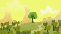 Size: 1440x809 | Tagged: safe, screencap, bloomberg, over a barrel, season 1, apple orchard, apple tree, no pony, tree